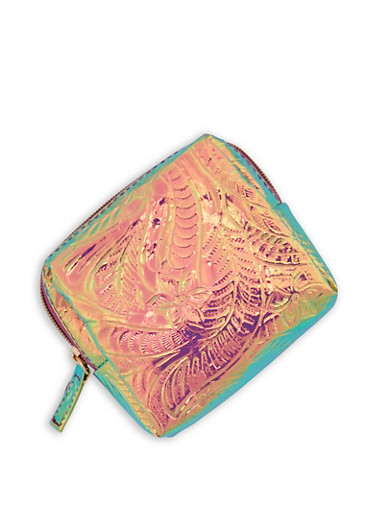 Holographic Floral Textured Zip Pouch,PINK,large