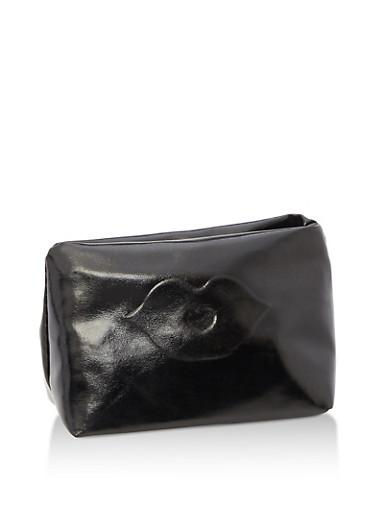 Mini Metallic Cosmetics Bag,BLACK,large