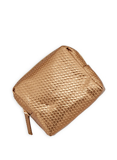 Textured Zip Pouch,GOLD,large