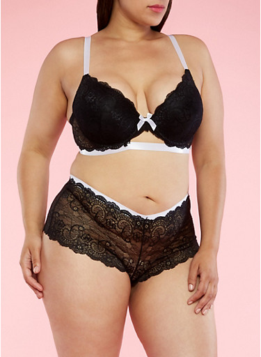 Plus Size Lace Bra with Contrast Trim,BLACK/WHITE,large