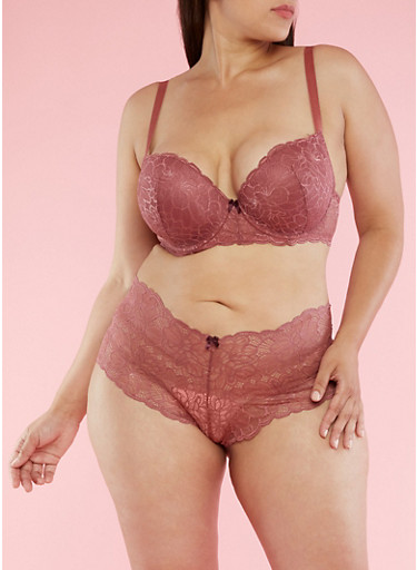 Plus Size Lace Padded Bra,BLUSH,large