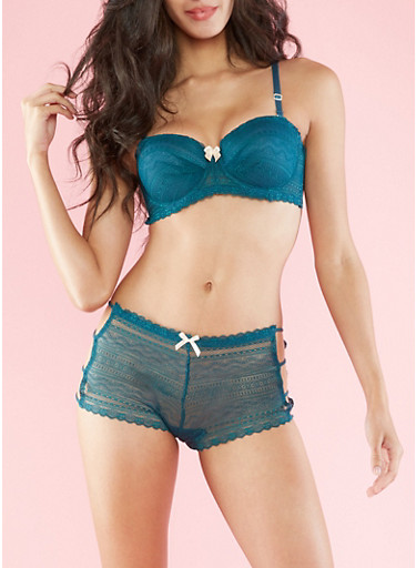Lace Balconette Bra,TEAL/SAND,large