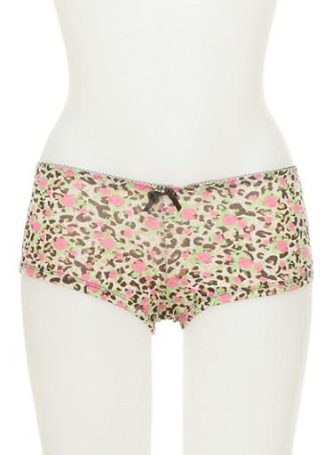 Leopard Floral Print Boyshort Panties,BLACK/ANIMAL,large