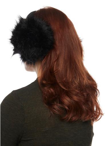 Ear Muffs in Oversize Faux Fur,BLACK,large