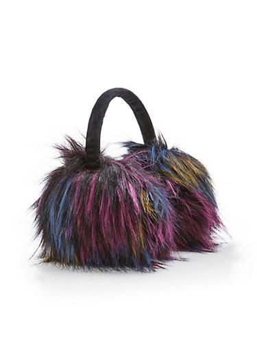 Multi Color Faux Fur Earmuffs,MULTI COLOR,large