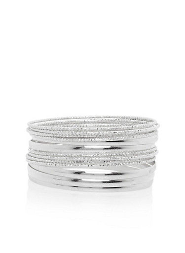 Set of 13 Etched and Solid Bangles,SILVER,large