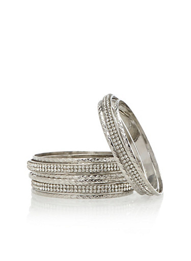 Set of 8 Assorted Bangles with Faux Diamonds,SILVER,large
