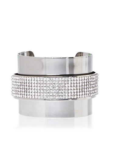 Wide Cuff with Pop-Out Crystal Covered Band,SILVER,large