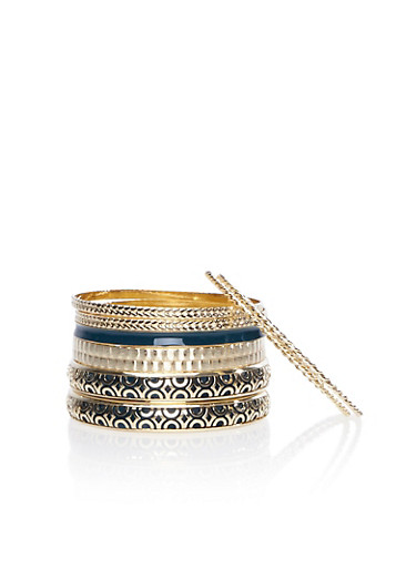 Assorted Stack of Bracelets with Filigree Cuff,TEAL,large
