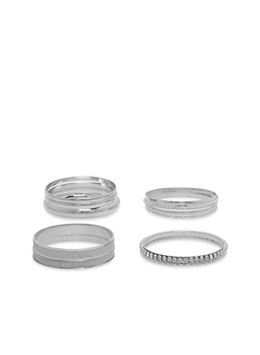 Multi Textured Metallic Bracelet Set,SILVER,large