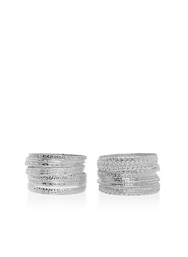 Set of Assorted Metallic Bangles,SILVER,large