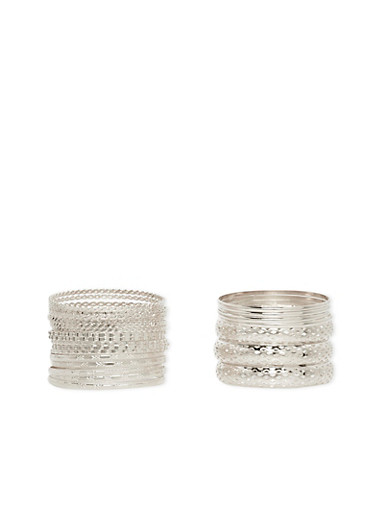 Set of 24 Assorted Lasercut and Etched Bangles,SILVER,large
