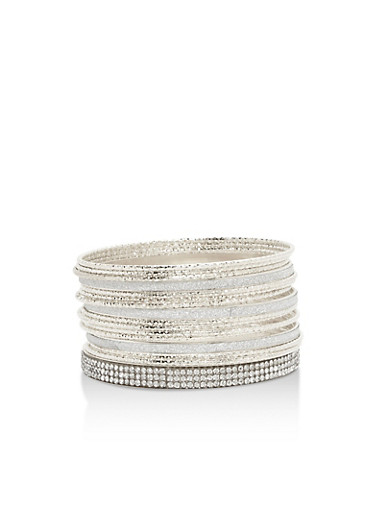 Set of Assorted Textured Bangles,SILVER,large