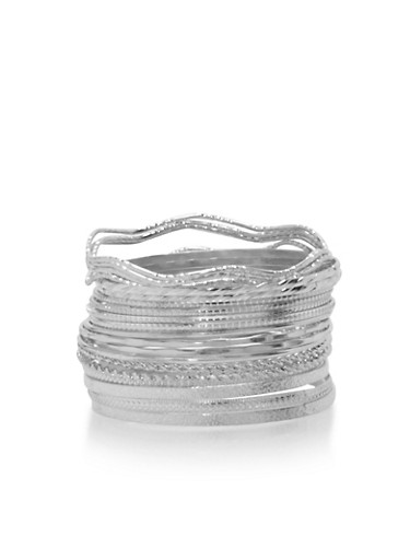 Plus Size Set of 20 Assorted Metallic Bangles,SILVER,large