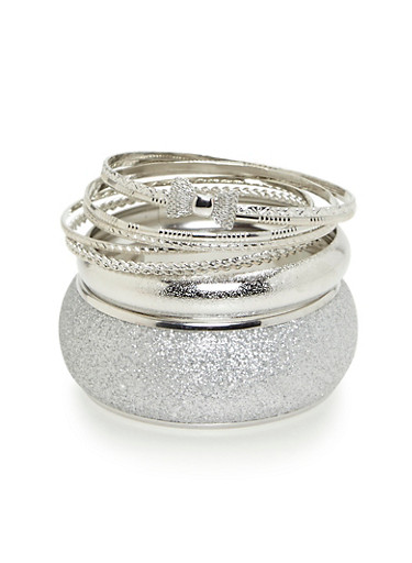 Plus Size Set of Glitter and Etched Metallic Bangles,SILVER,large