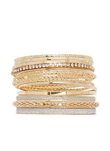 Set of 14 Assorted Bangles,GOLD,large