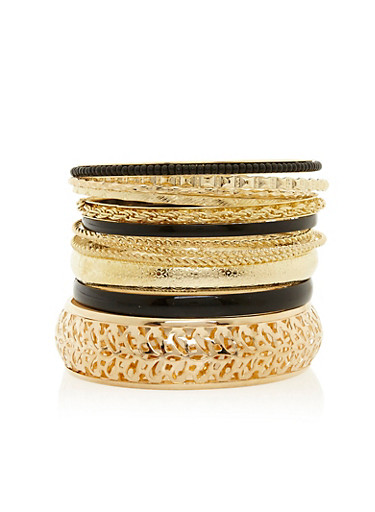Set of 12 Assorted Multi Textured Bangles,BLACK,large