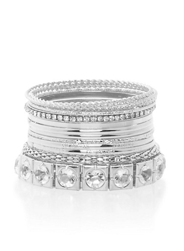 Plus Size Set of 12 Assorted Bangles,SILVER,large