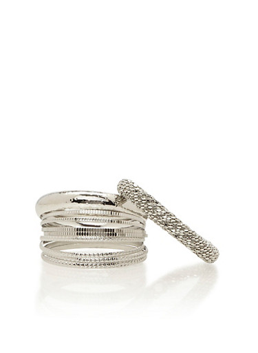 Set of 10 Bangles in Various Textures,SILVER,large