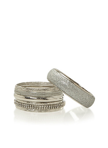 Plus Size Set of 11 Bangles with Crystal and Glitter Finishes,SILVER,large