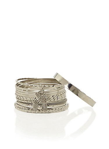 Plus Size Set of 13 Textural Bangles with Love and Bow Charms,SILVER,large