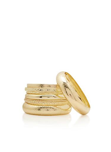 Set of 9 Assorted Bangles,GOLD,large
