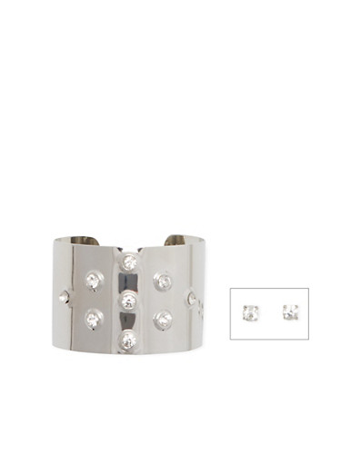 Rhinestone Studded Cuff Bracelet and Stud Earrings Set,SILVER,large