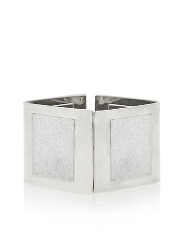 Square Hinge Glitter Cuff Bracelet,SILVER,large