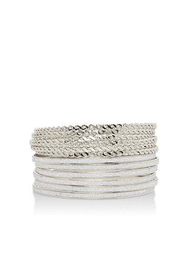 Plus Size 12 Piece Twisted and Glitter Bangles Set,SILVER,large