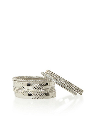 Set of 9 Textured Bangles,SILVER,large