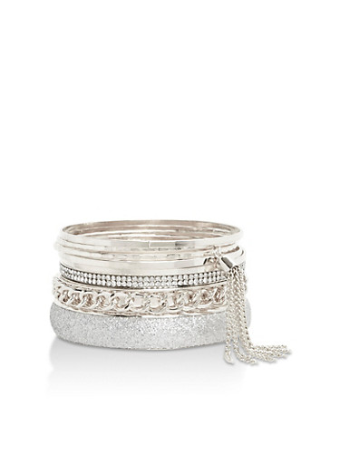 Plus Size Set of Assorted Multi Textured Bangles,SILVER,large