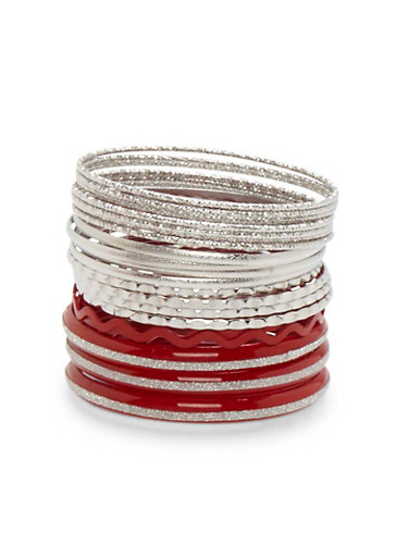 Two Toned Bangles Set,SILVER,large