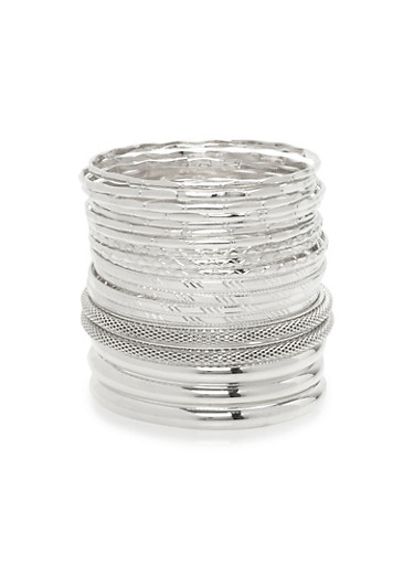 Assorted Textured Bangles Set,SILVER,large