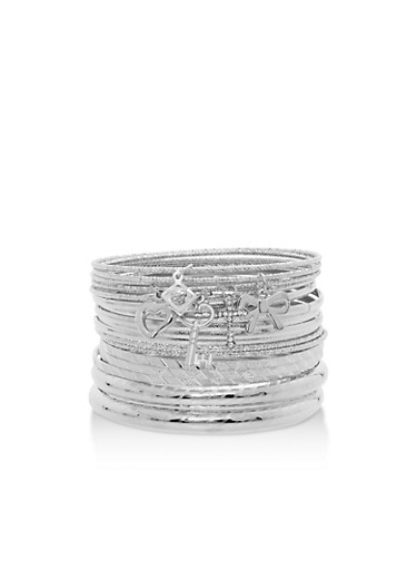 Plus Size Textured Bangles with Charms,SILVER,large