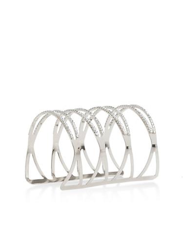 Rhinestone Long Cuff Bracelet,SILVER,large