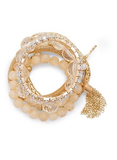 Set of 6 Stretch Bracelets with Varied Beads,IVORY,large