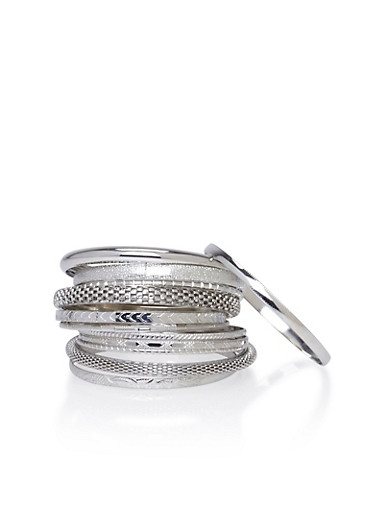 Plus Size Set of 12 Bangles with Textural Accents,SILVER,large