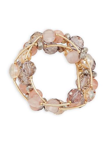 Multi Beaded Bracelets,ROSE,large