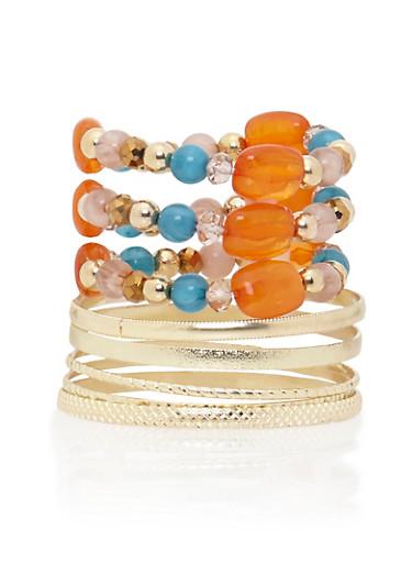 Set of 5 Bangles and 3 Beaded Bracelets,TURQUOISE,large