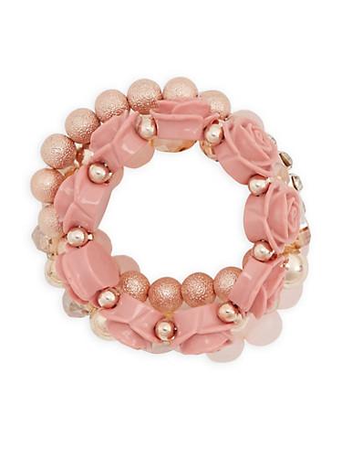 Floral Rhinestone Beaded Bracelets,MAUVE,large