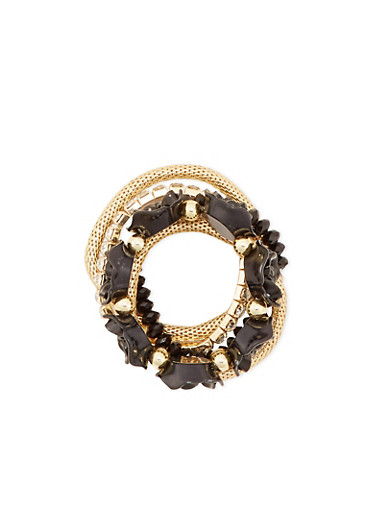Set of 5 Stretch Bracelets with Rosette Accents,BLACK,large