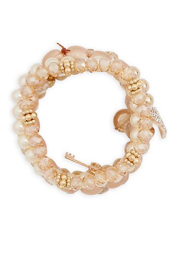Faux Pearl Beaded Leaf Charm Bracelets Set,GOLD,large