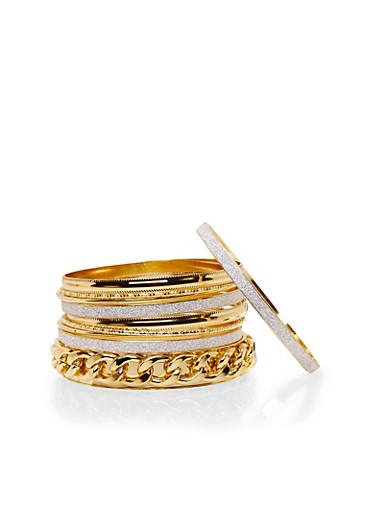 Set of 10 Assorted Bangles,GOLD,large