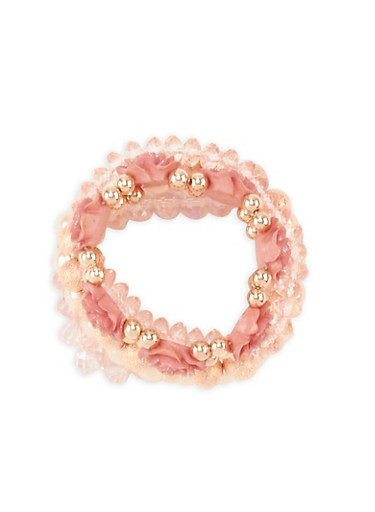 Set of 5 Faux Pearl and Rhinestone Bracelets,MAUVE,large
