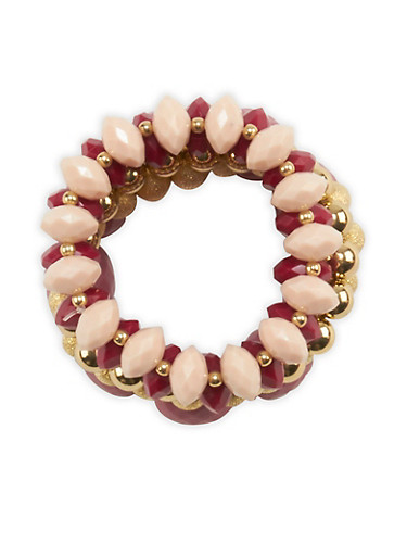 Chunky Beaded Stretch Bracelets,WINE,large