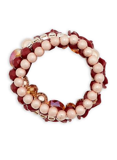 Rhinestone Rose and Glass Bead Bracelets,WINE,large