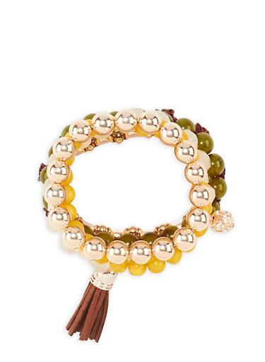Set of 5 Beaded Bracelets,BURGUNDY,large