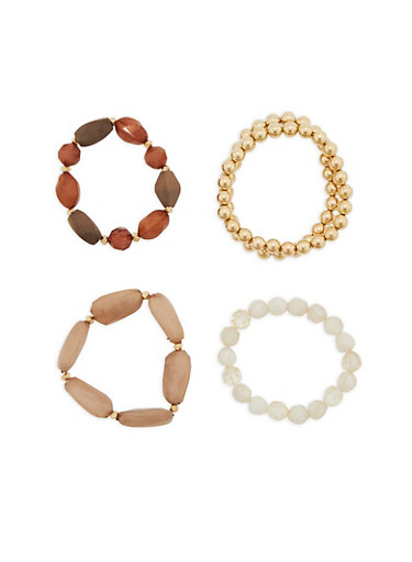 Multi Beaded Bracelet Set,TAUPE,large