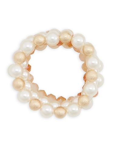 Faux Pearl Beaded Set of 5 Bracelets,IVORY,large