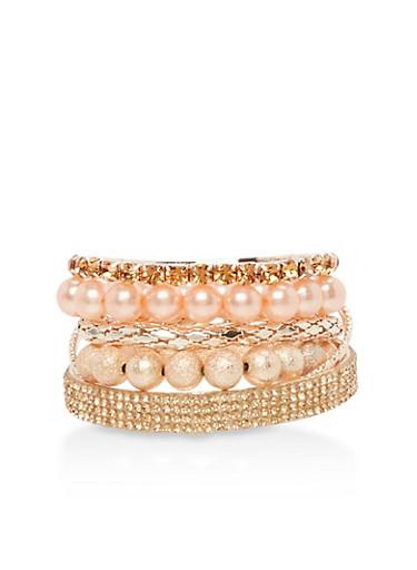 Set of 7 Beaded and Rhinestone Bracelets,ROSE,large